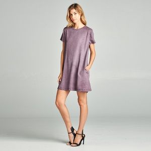 Plum Pocket-Accent Tencel T-Shirt Dress